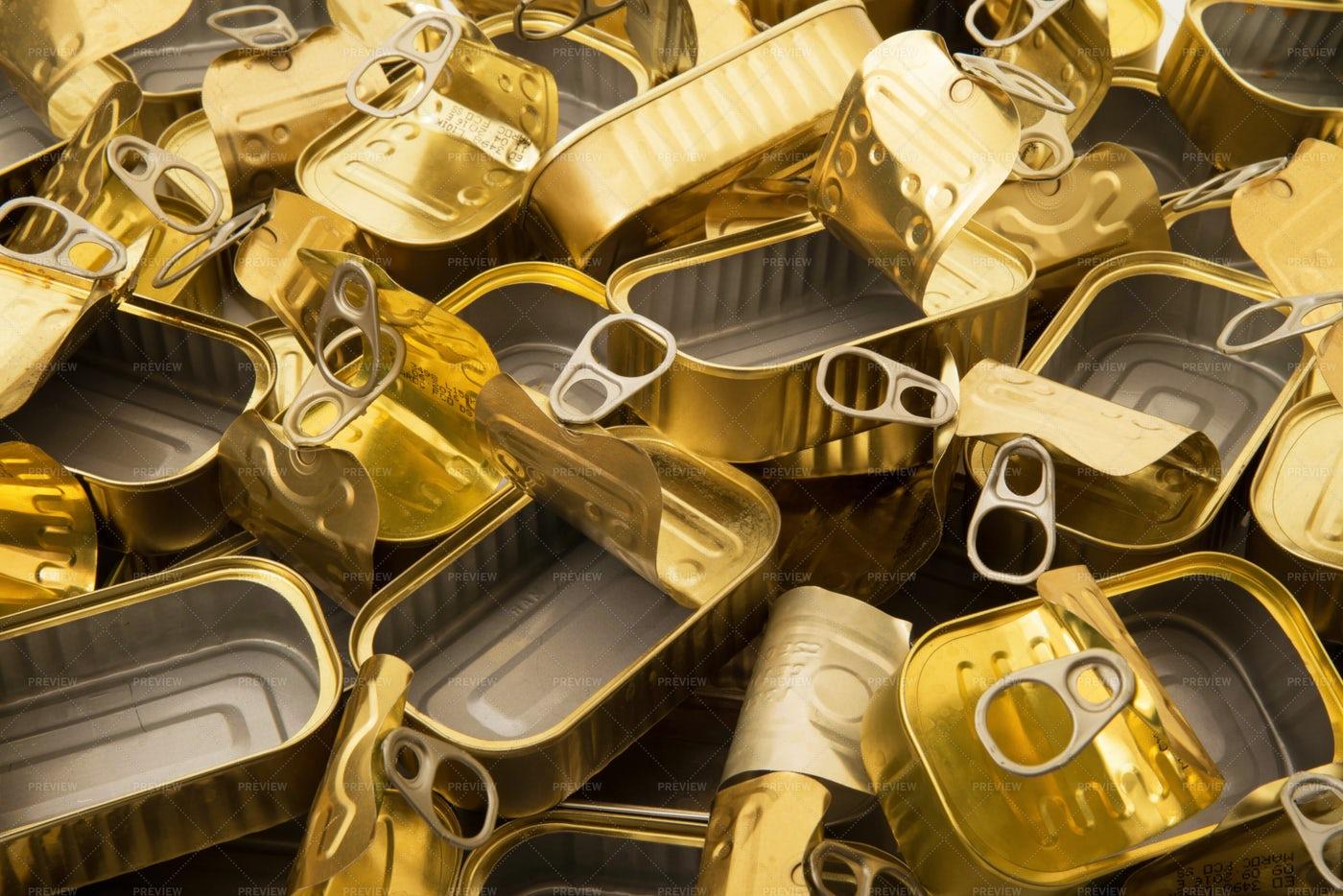 Empty Metal Food Tins: Stock Photos