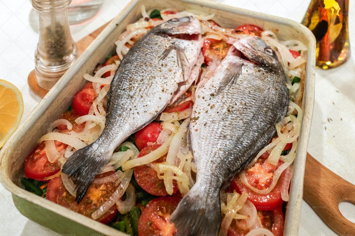 Fish Prepared For Baking.: Stock Photos