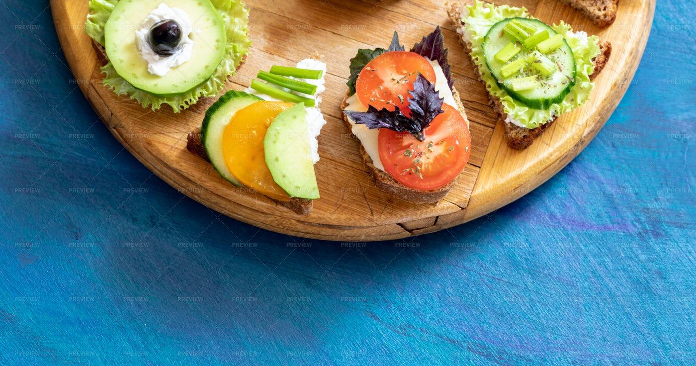 Tasty Vegetarian Sandwiches: Stock Photos
