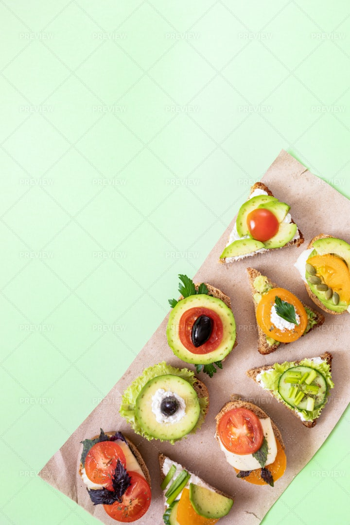 Vegetarian Sandwiches On Paper: Stock Photos