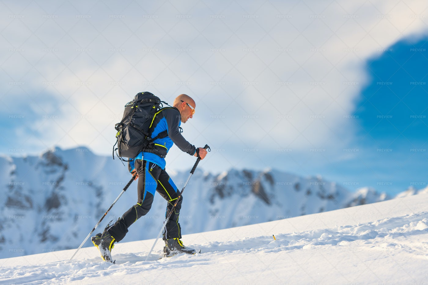 Cross-Country Skier In The Mountains: Stock Photos