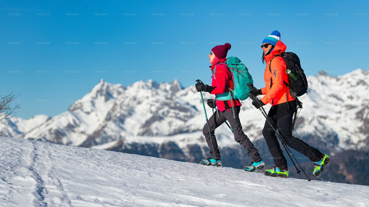 Women Hiking With Crampons: Stock Photos