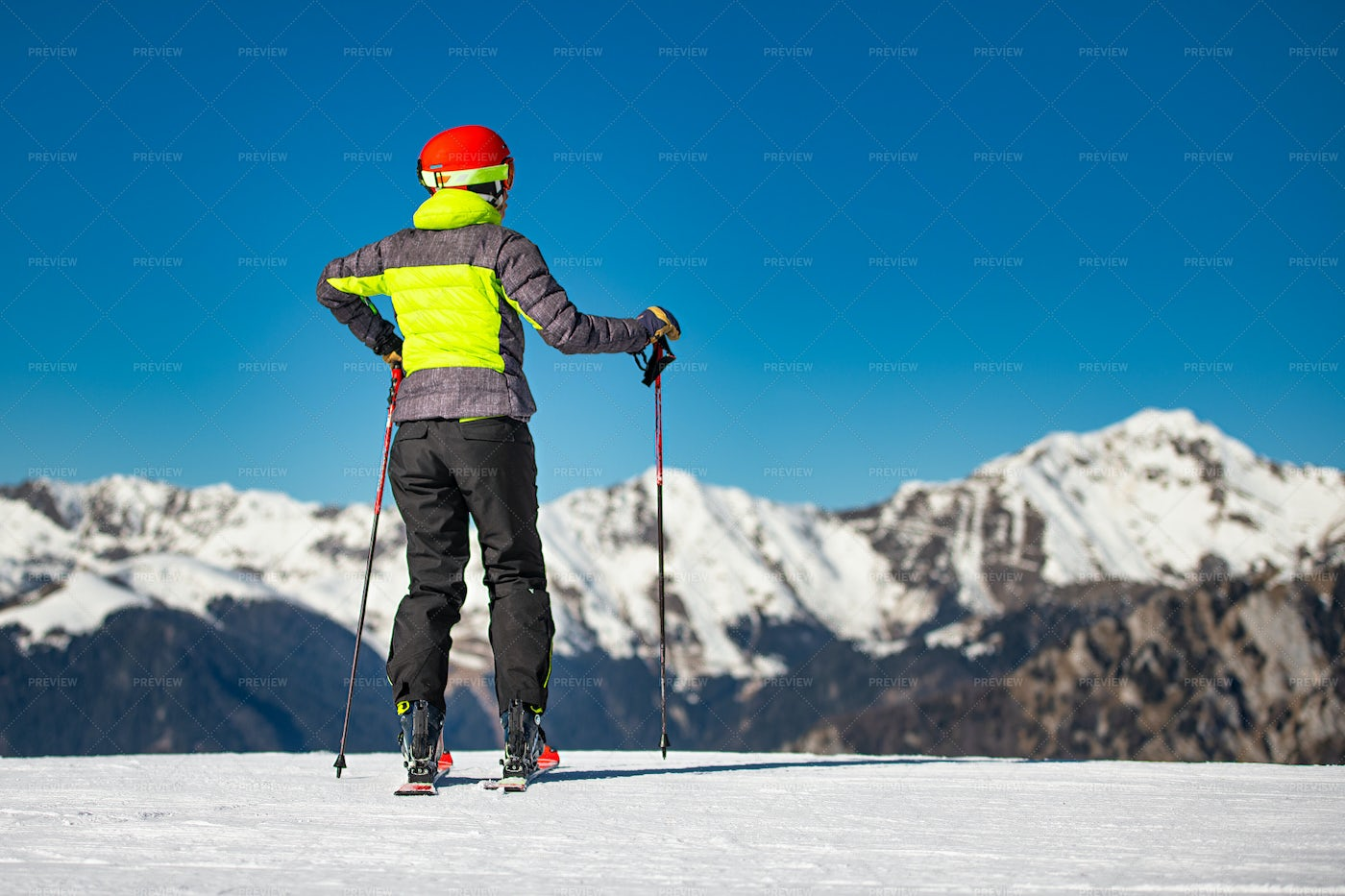 Skier Looking At Mountains: Stock Photos
