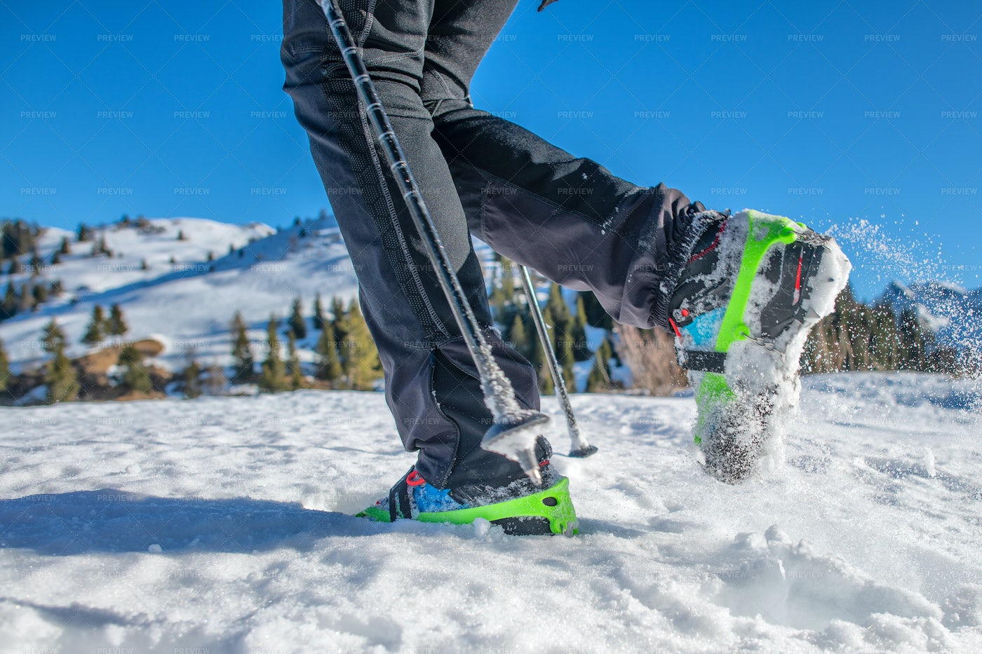 Snow Shoes On Winter Hiker: Stock Photos