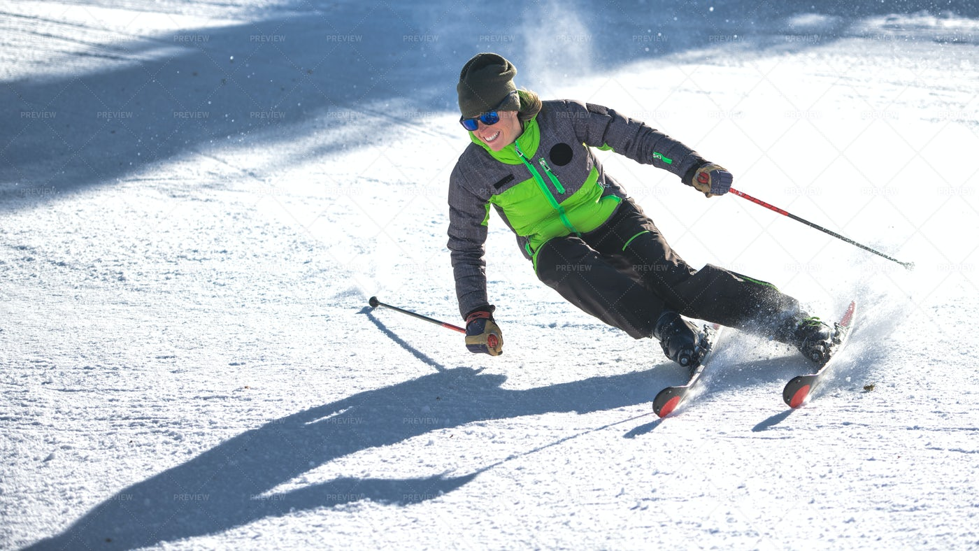 Downhill Skier In Action: Stock Photos