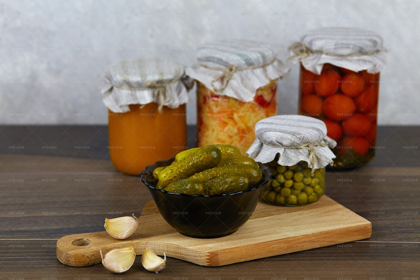 Canned Vegetables In Jars: Stock Photos