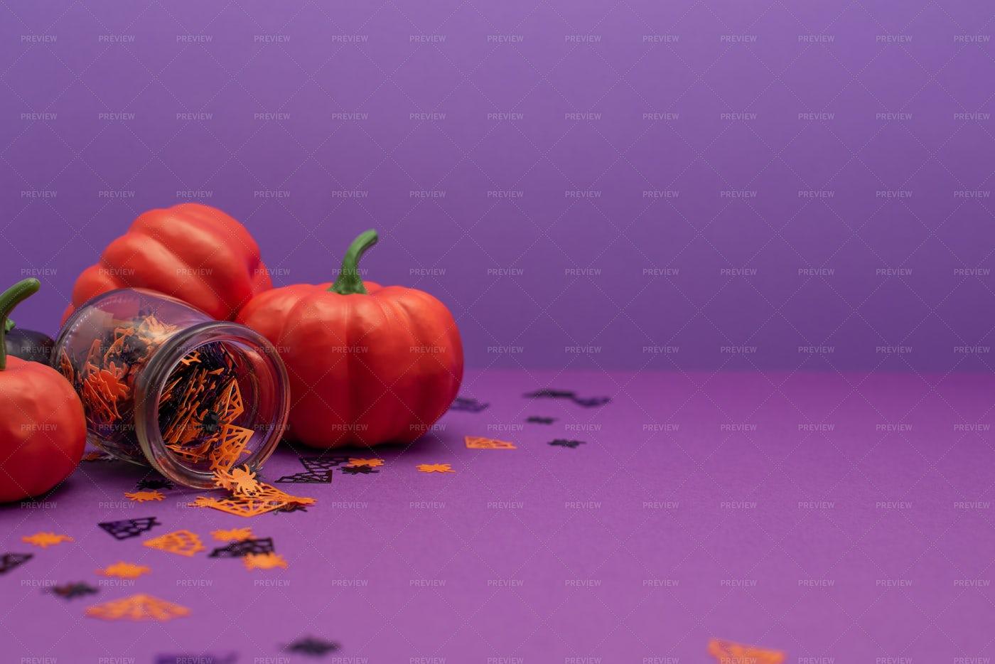 Halloween Pumpkin Decorations Background: Stock Photos