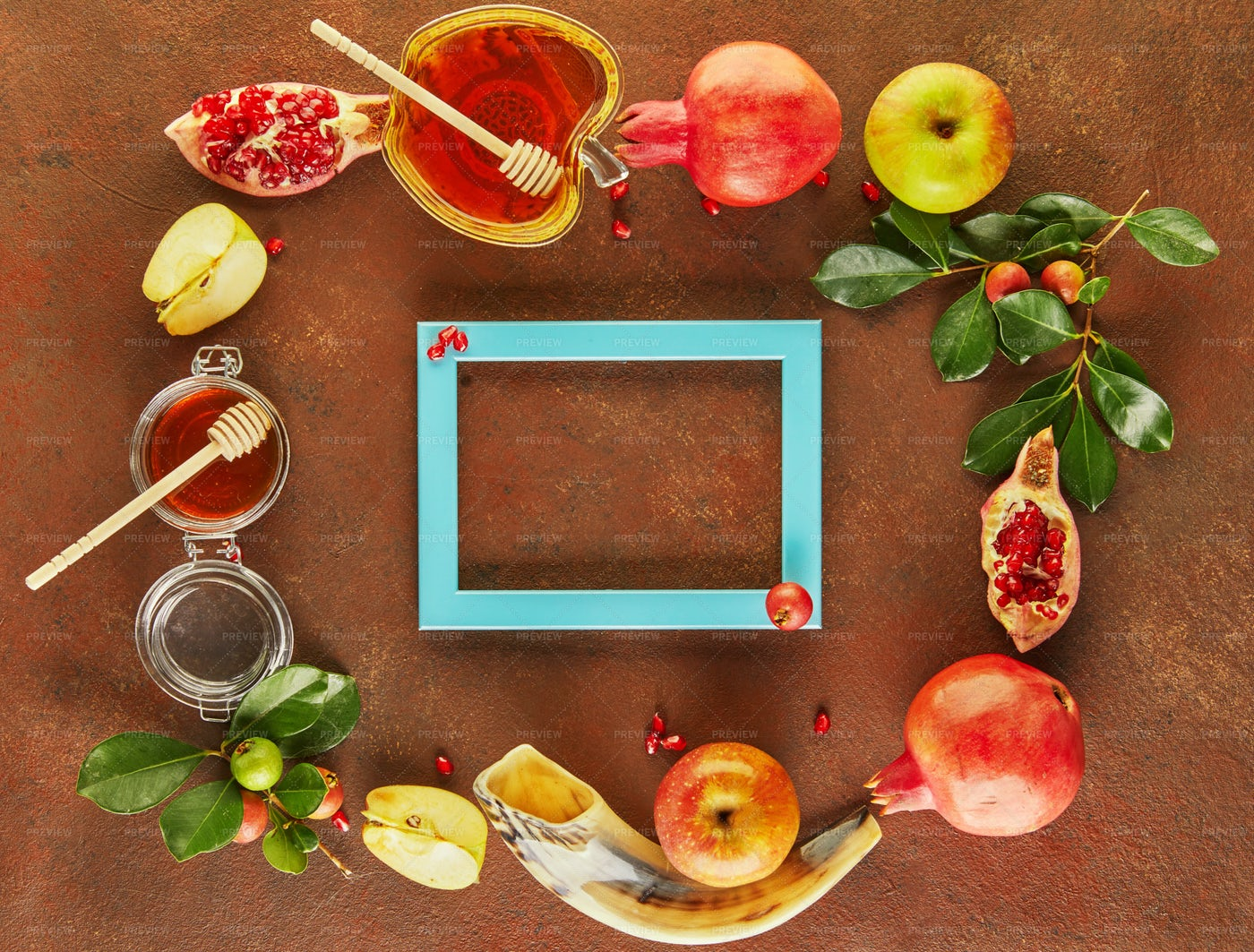 Frame Of Honey And Ingredients: Stock Photos
