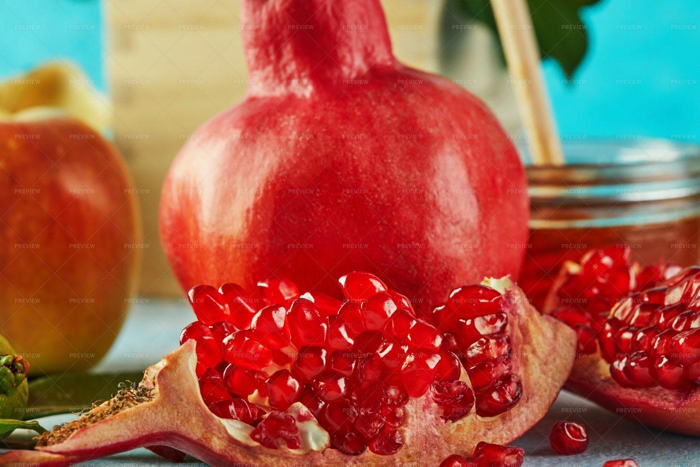 Pomegranate Close-Up: Stock Photos