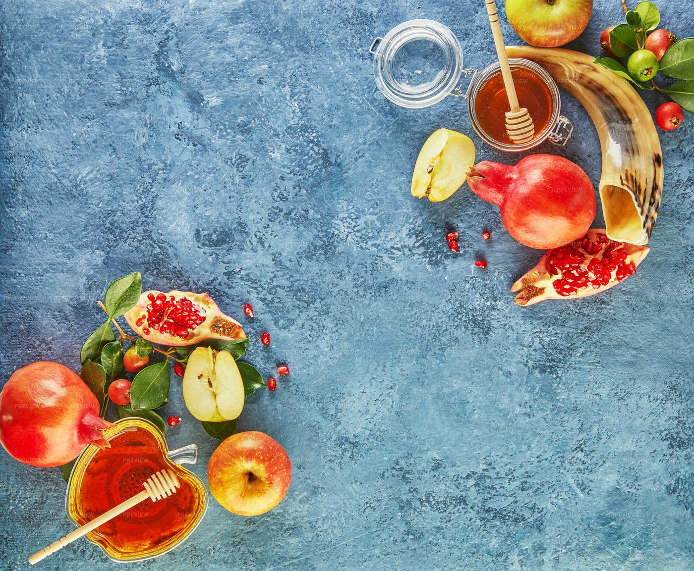 Rosh Hashanah Food Spread: Stock Photos