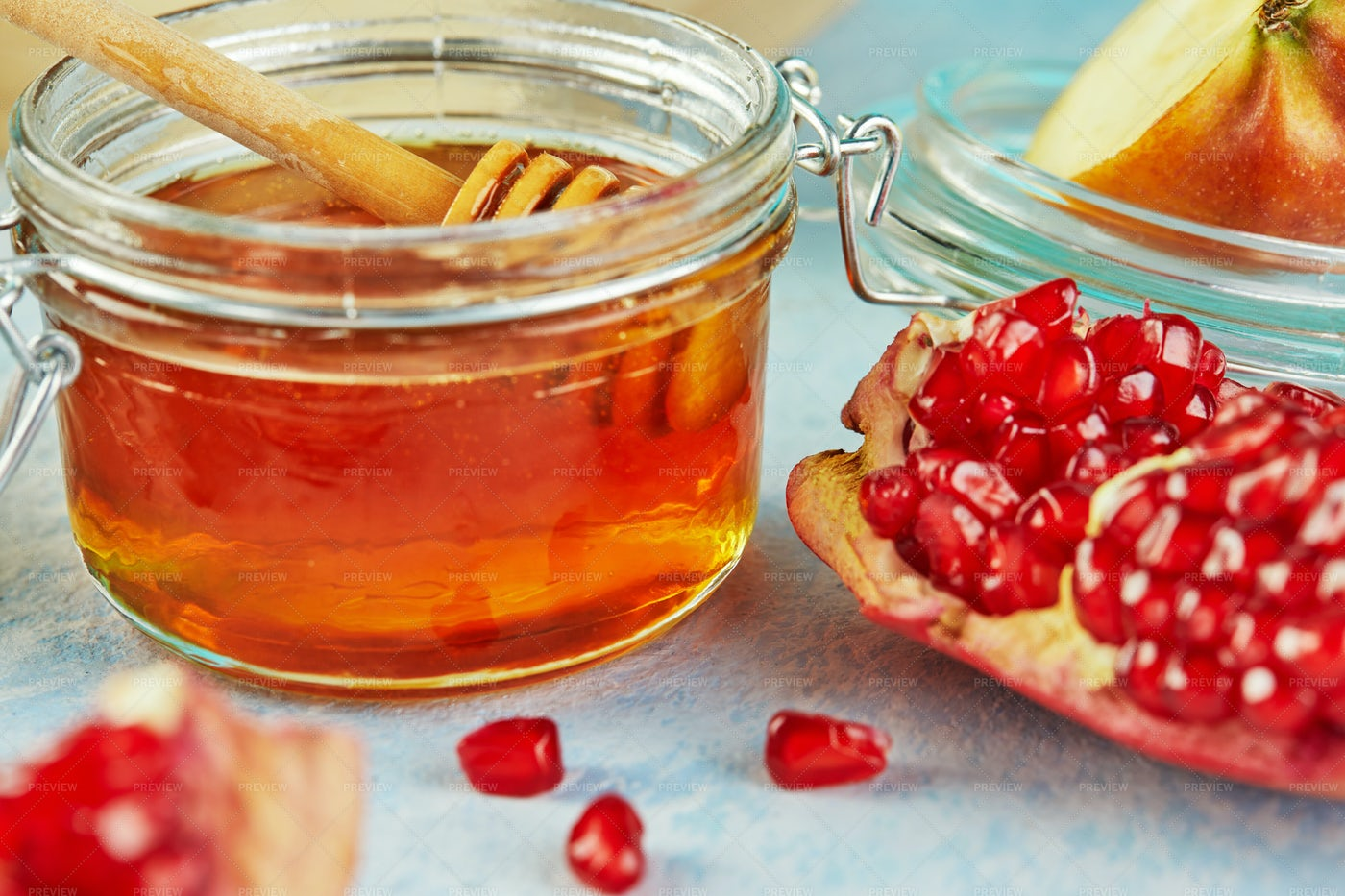 Honey And Pomegranate: Stock Photos