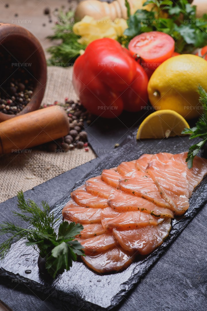 Raw Salmon Slices: Stock Photos