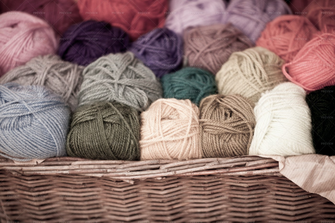 Wool Thread In A Basket: Stock Photos