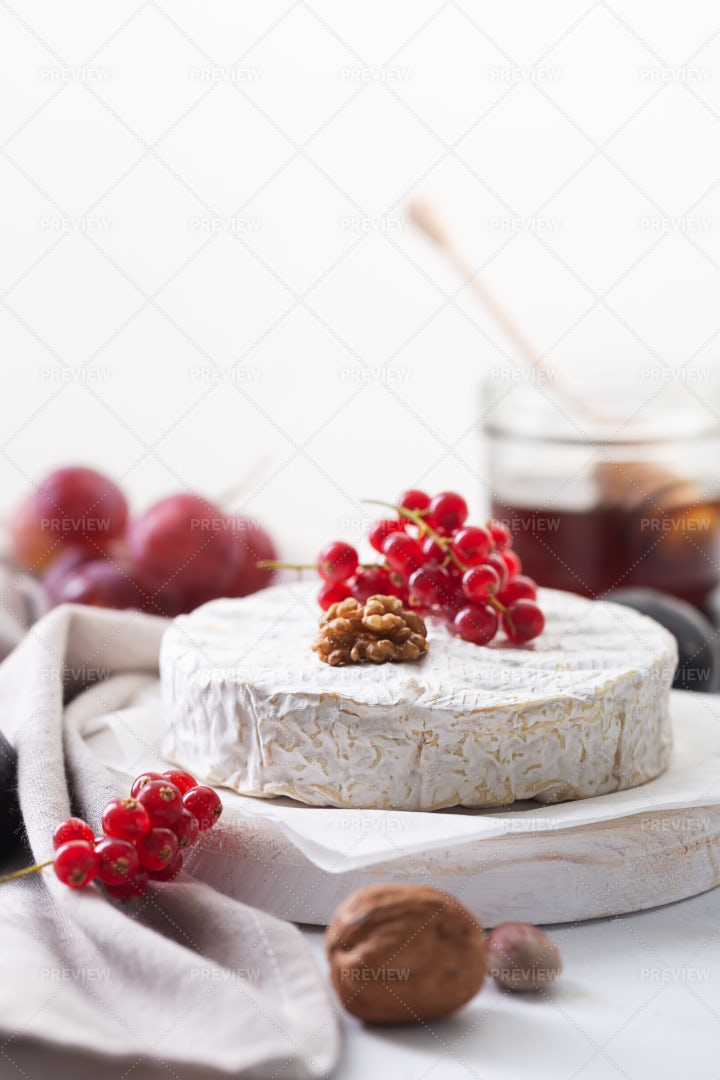 French Camembert With Nuts: Stock Photos