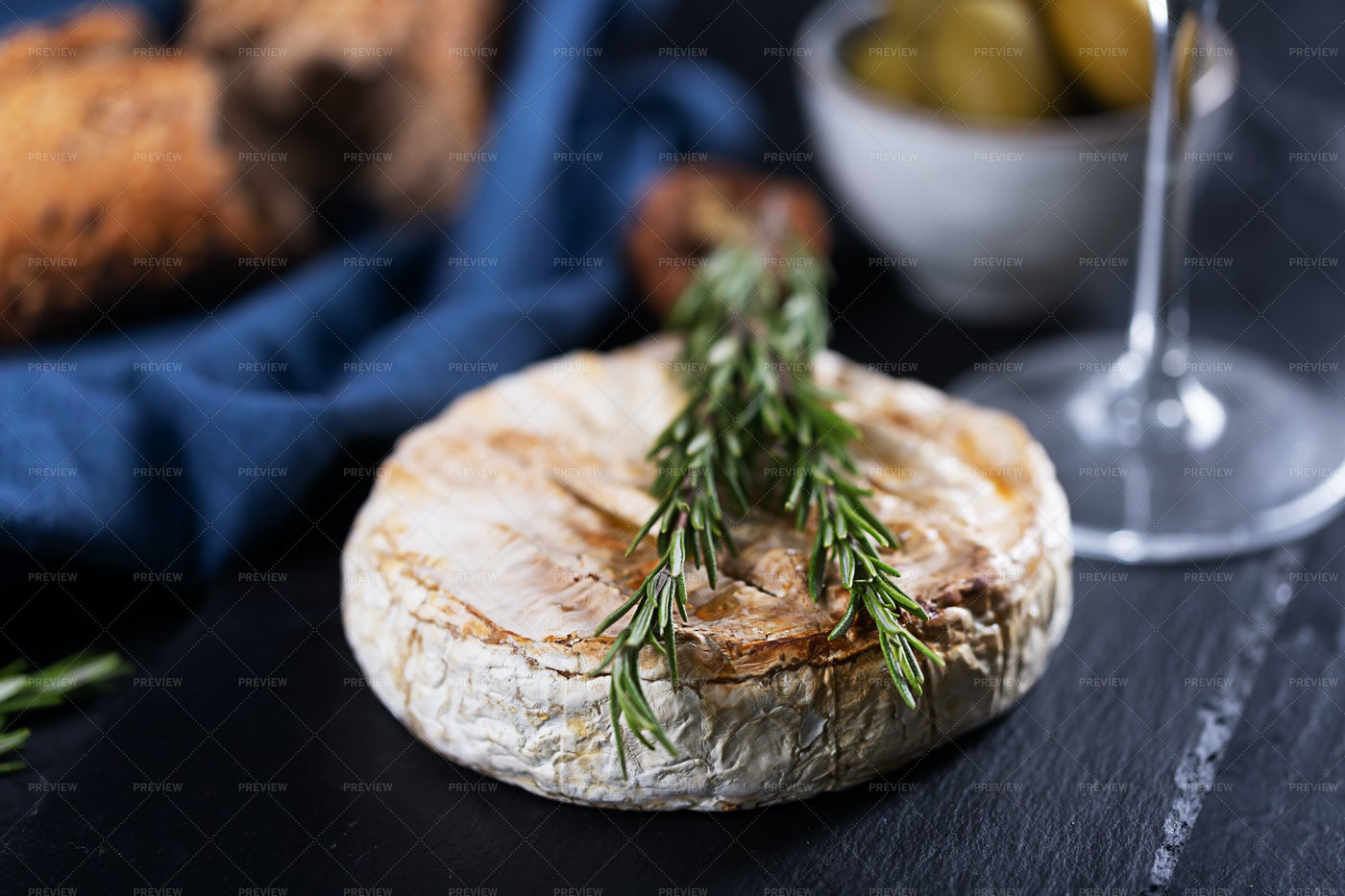 French Cheese With Rosemary: Stock Photos