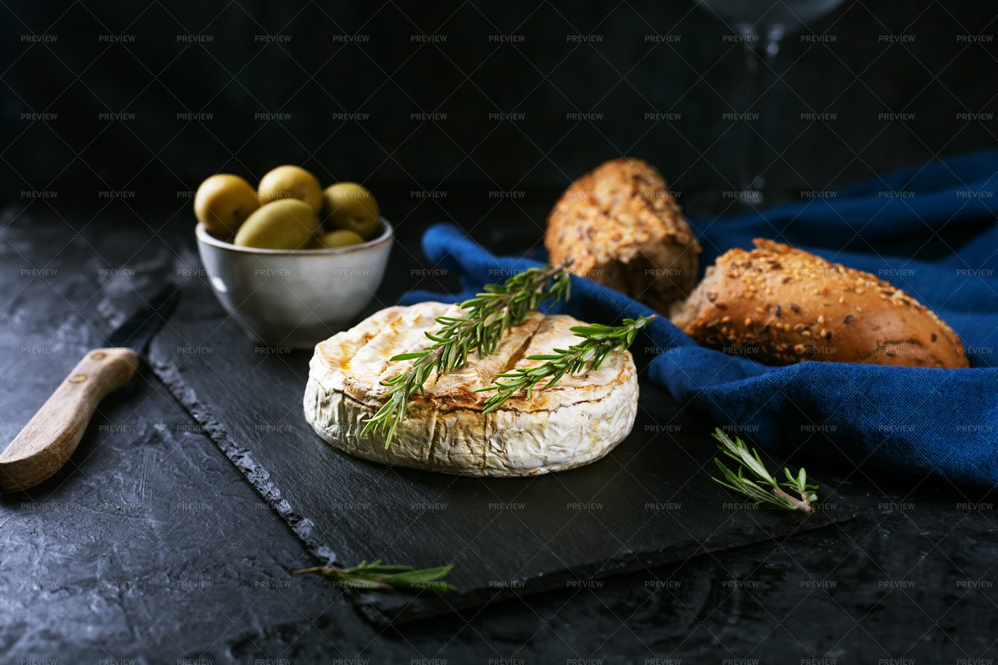 Camembert Cheese With Olives: Stock Photos