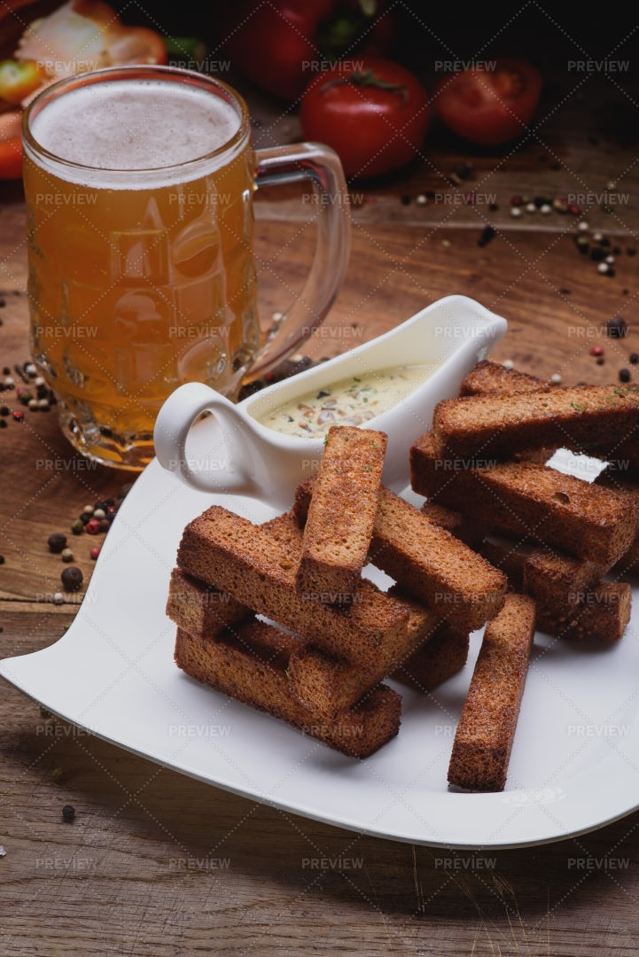 Beer, Croutons And Sauce: Stock Photos