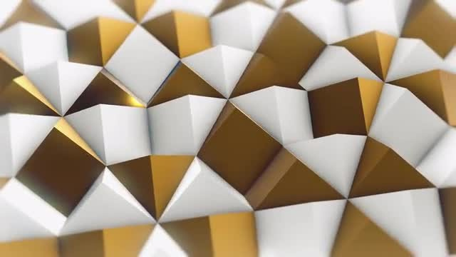 White and Gold Rhombic Pattern Wall 3: Stock Motion Graphics