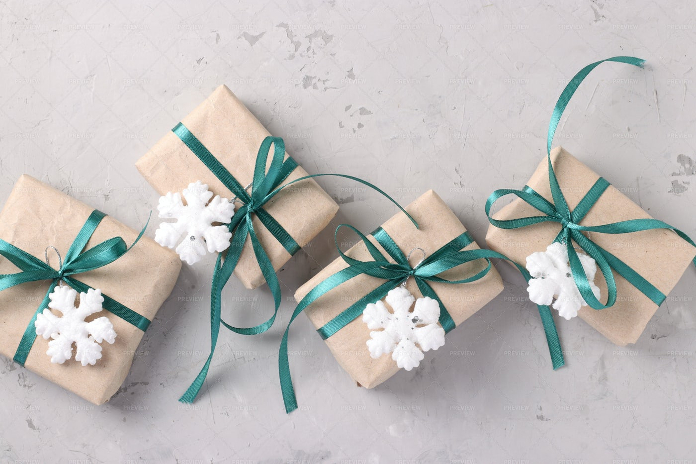 Christmas Gifts In Kraft Paper: Stock Photos