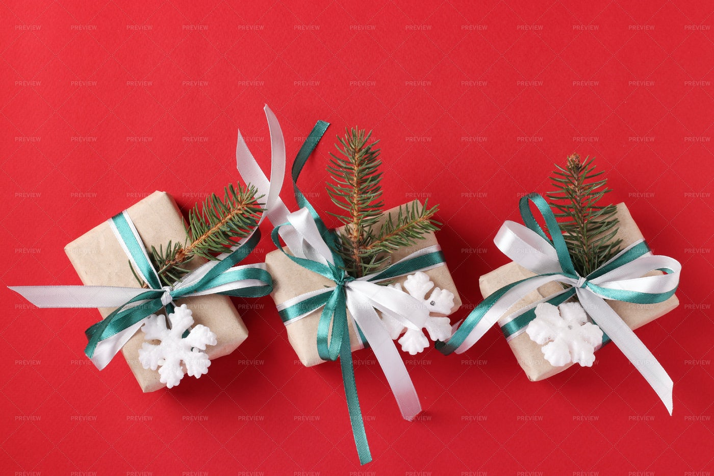 Three Christmas Giftboxs: Stock Photos