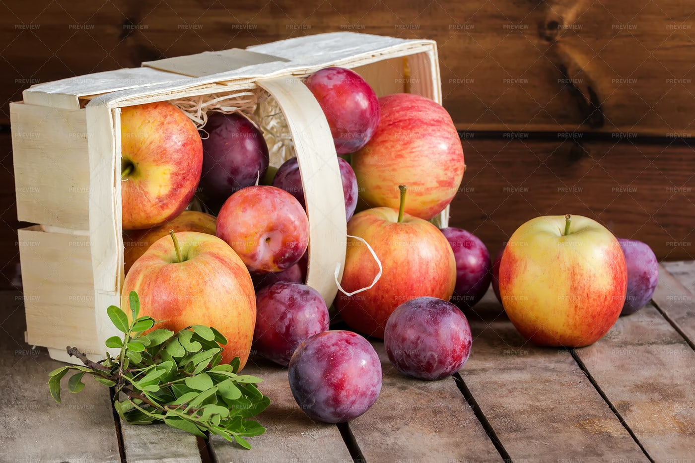 Gifts Of Autumn: Apples And Plums: Stock Photos