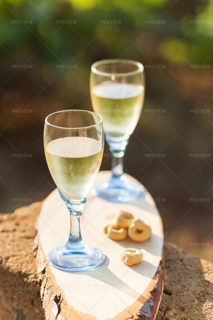 White Wine In Two Glasses: Stock Photos