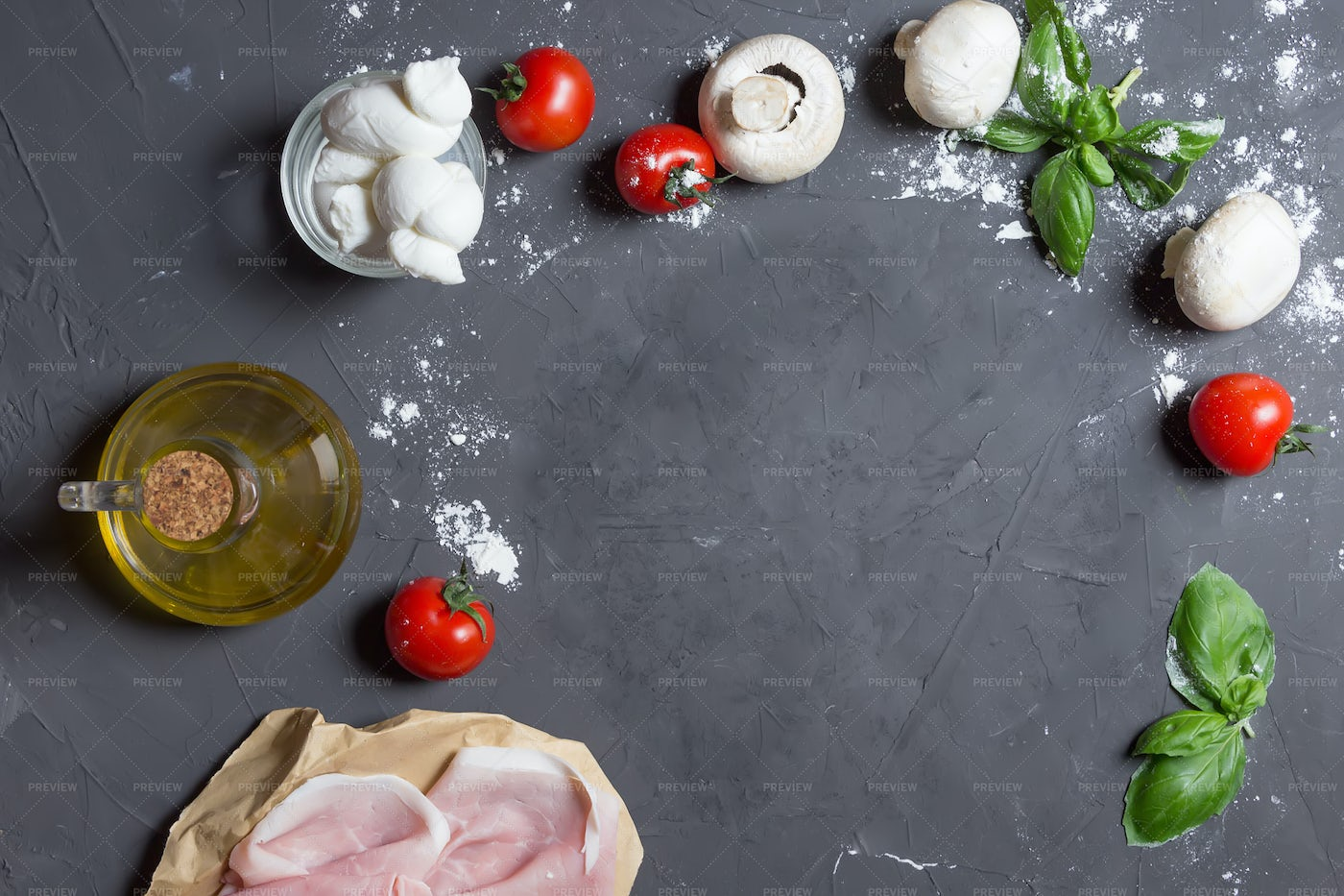 Pizza Ingredients With Copy Space: Stock Photos