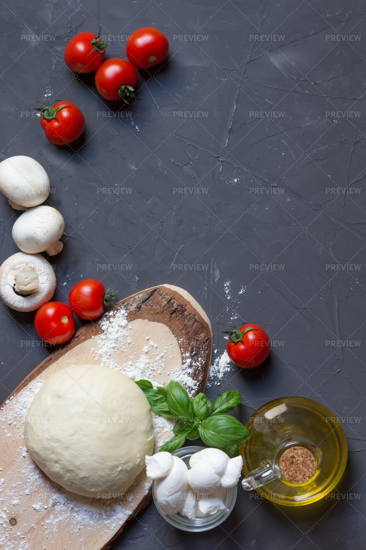 Mushrooms, Tomatoes And Pizza Dough: Stock Photos