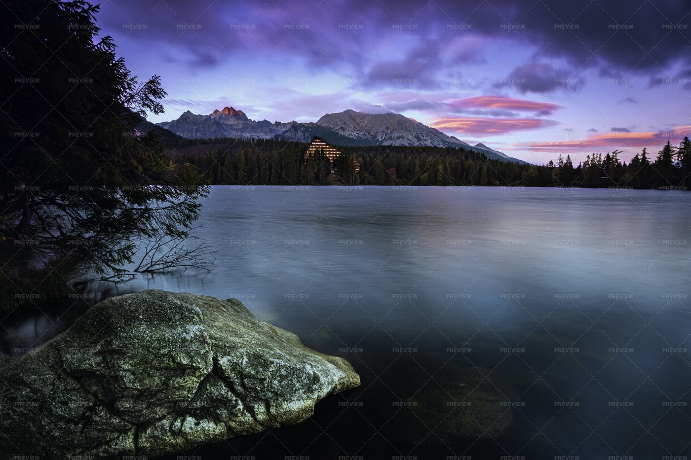 Early Evening At Strbske Pleso: Stock Photos