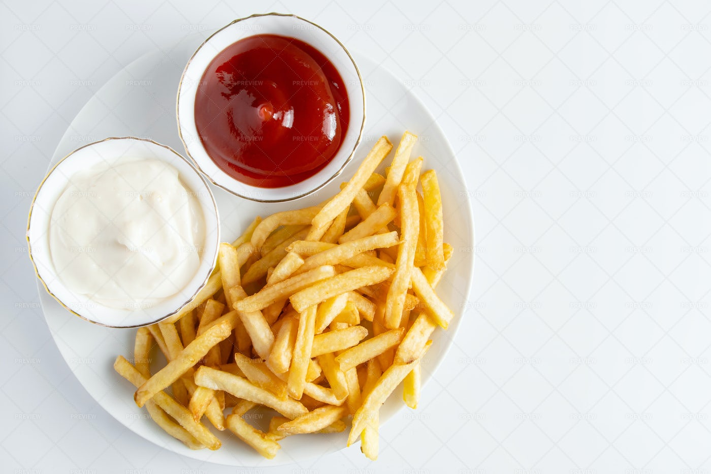 French Fries Background With Copy Space: Stock Photos