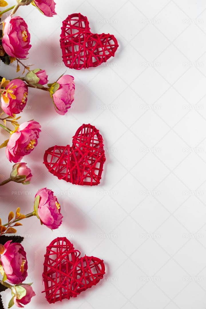 Flowers And Red Hearts: Stock Photos