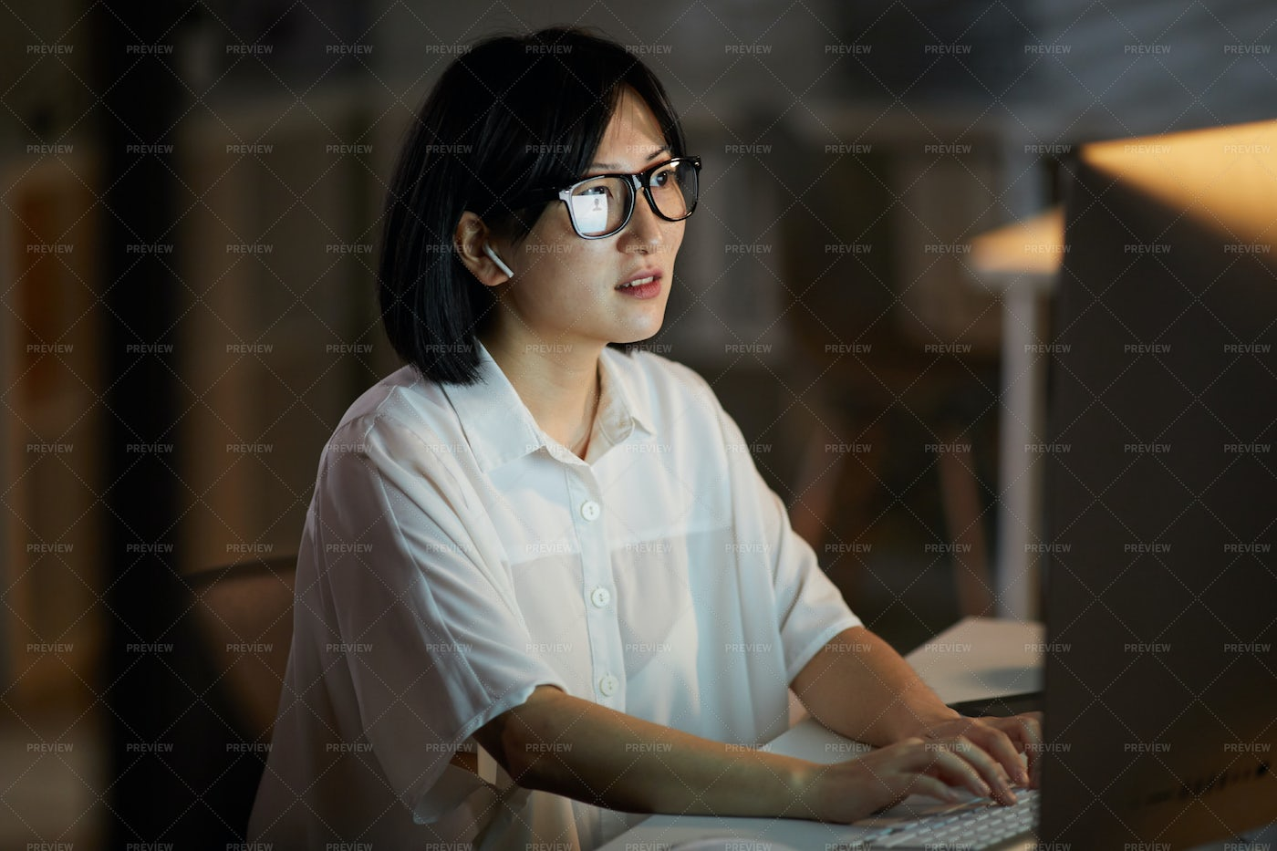 Woman Working On Computer: Stock Photos