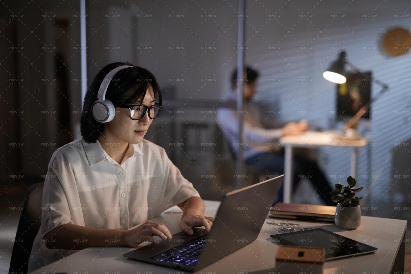 Woman Working At Night: Stock Photos