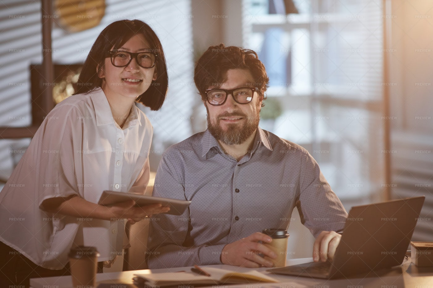 Couple Working At The Office: Stock Photos