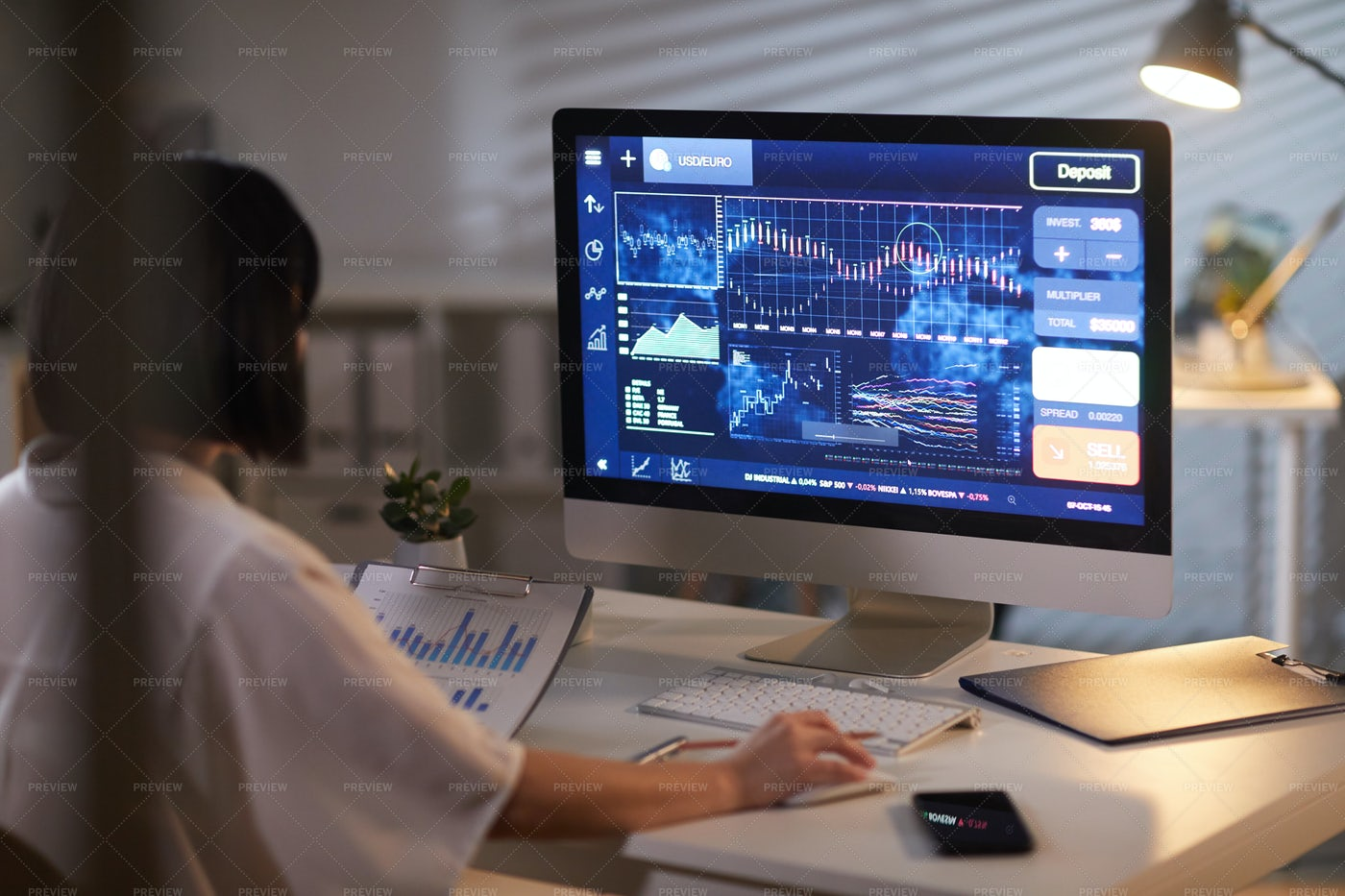 Businesswoman Analyzing Financial Charts: Stock Photos