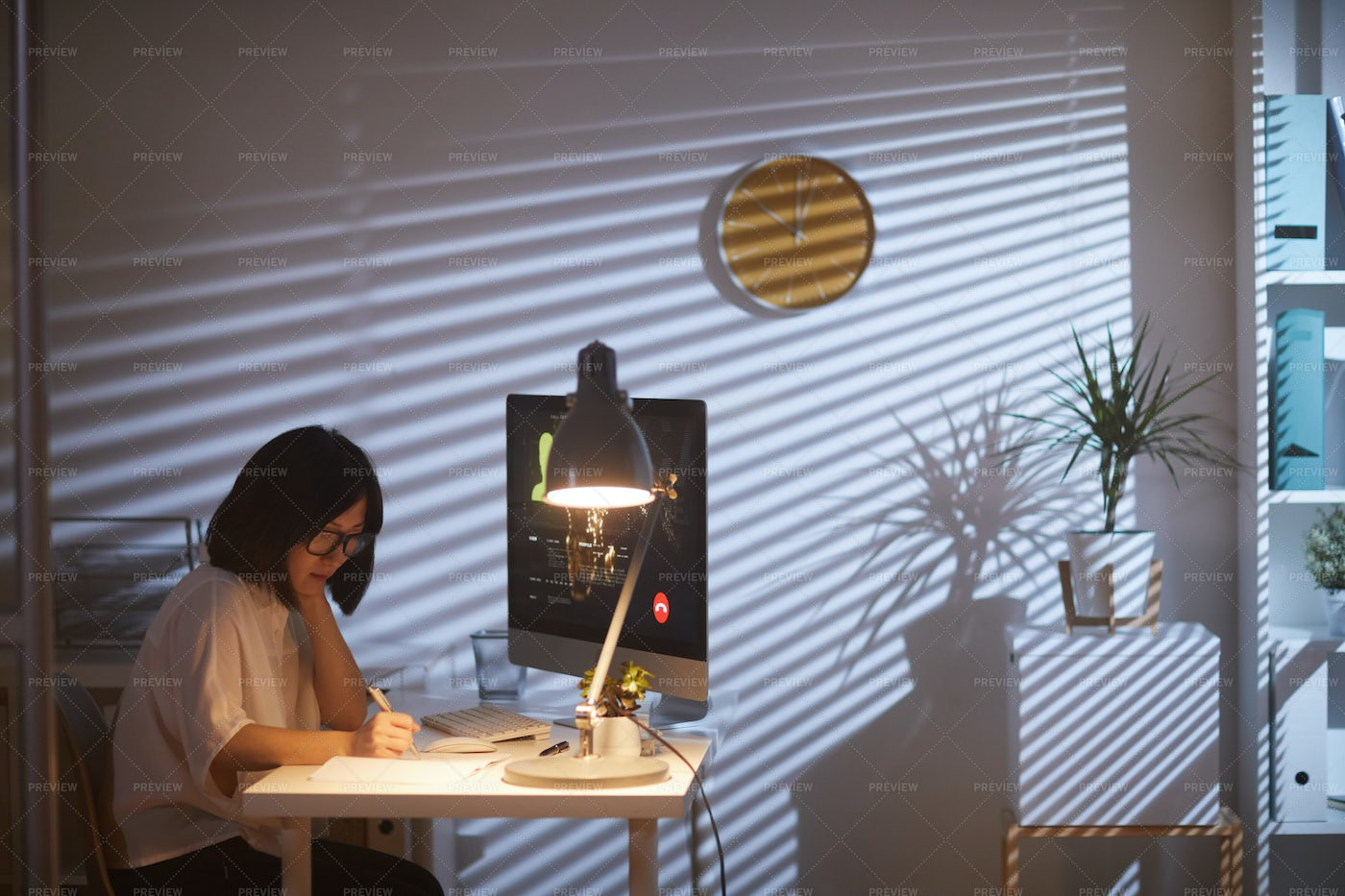 Woman Working Late: Stock Photos