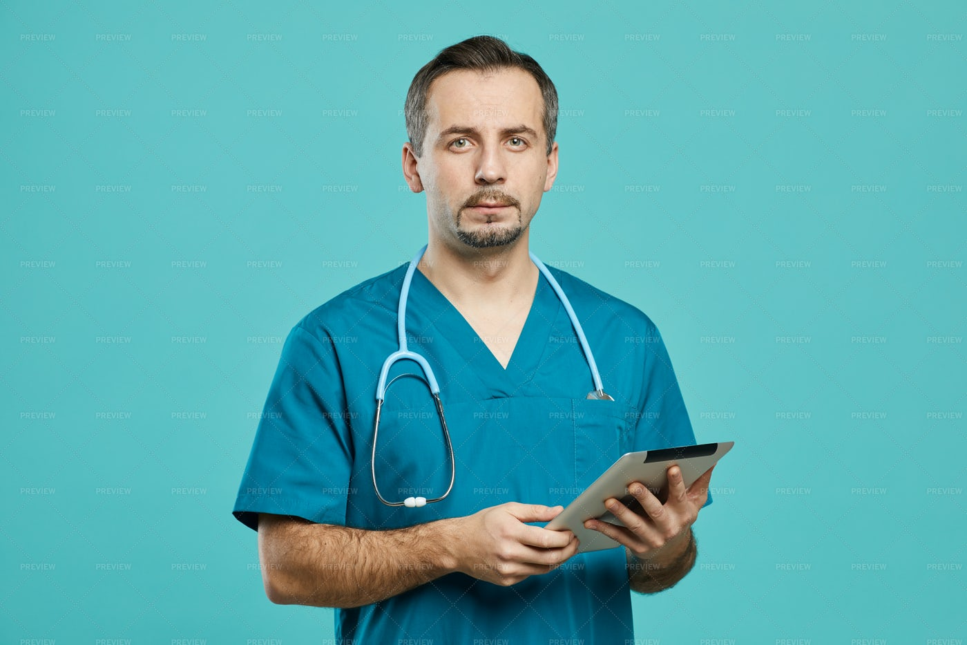 Surgeon With Tablet Portrait: Stock Photos