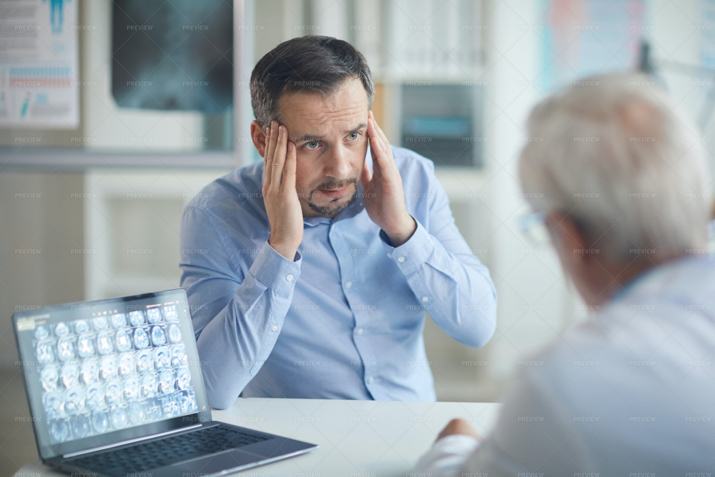 Patient Complaining To Doctor: Stock Photos