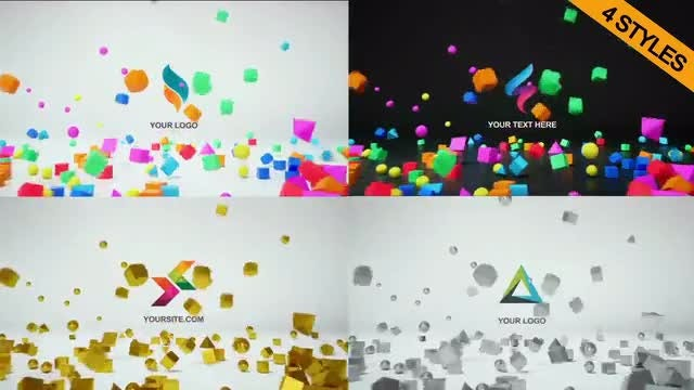 4 In 1 Logo Reveal 3D: Premiere Pro Templates