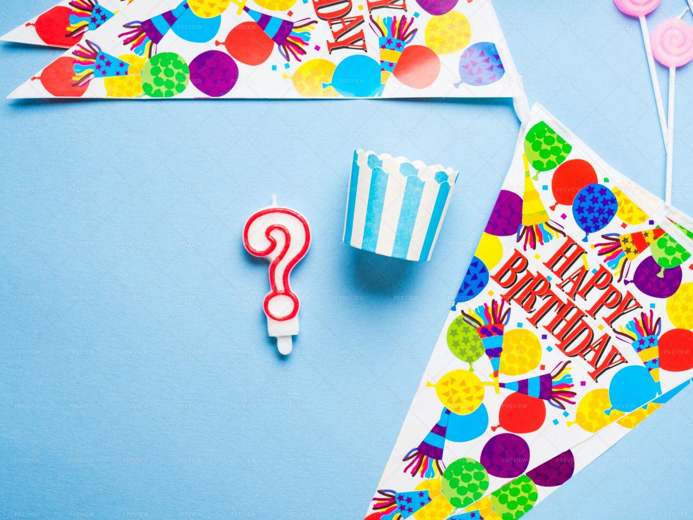 Happy Birthday Party Items Background: Stock Photos