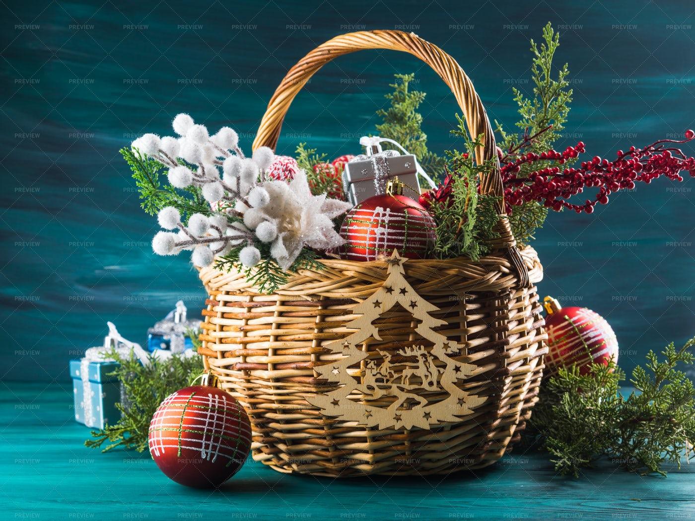 Decorated Basket: Stock Photos