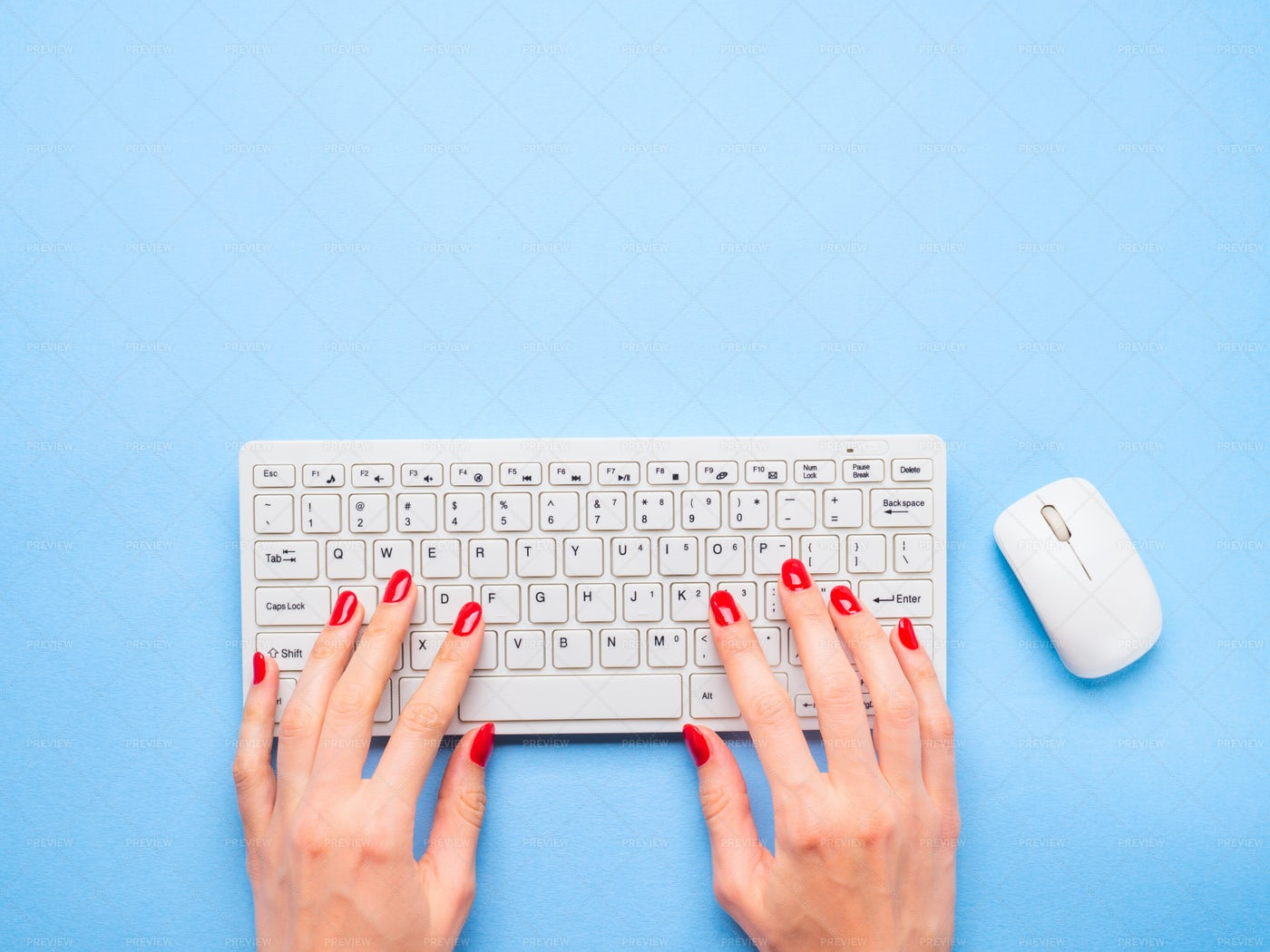White Keyboard With Hands: Stock Photos