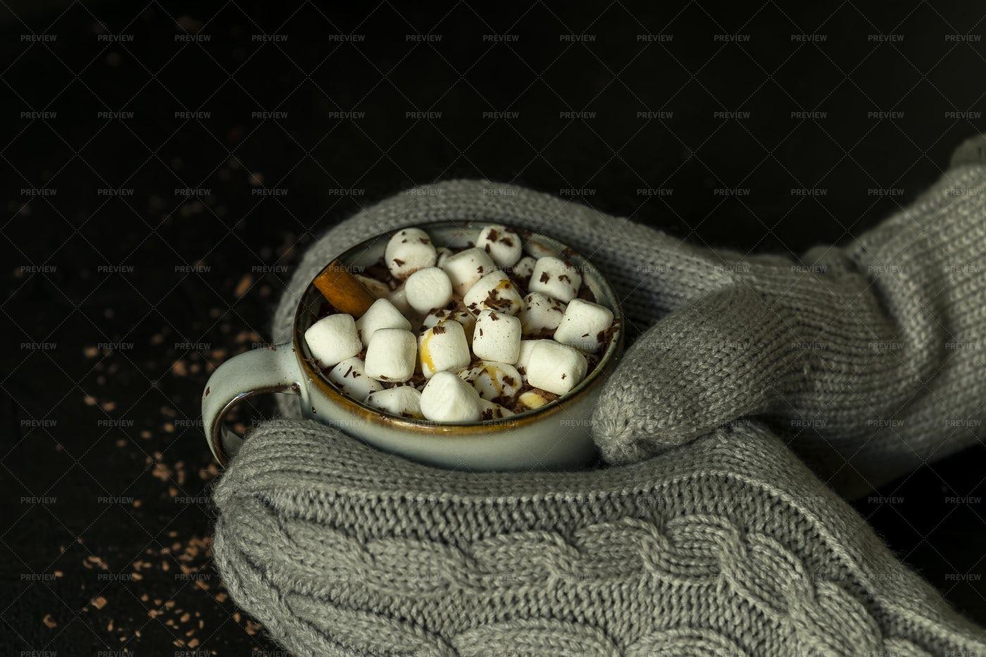 Hot Chocolate And Mittens Close-Up: Stock Photos