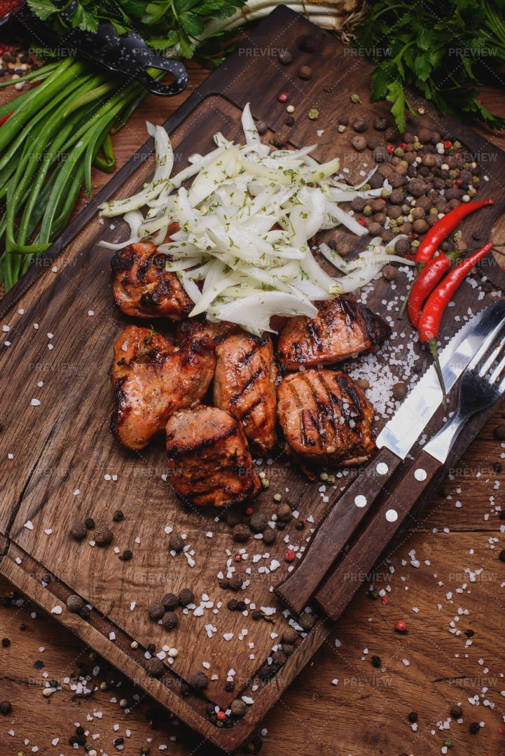 Pork With Onions And Herbs: Stock Photos