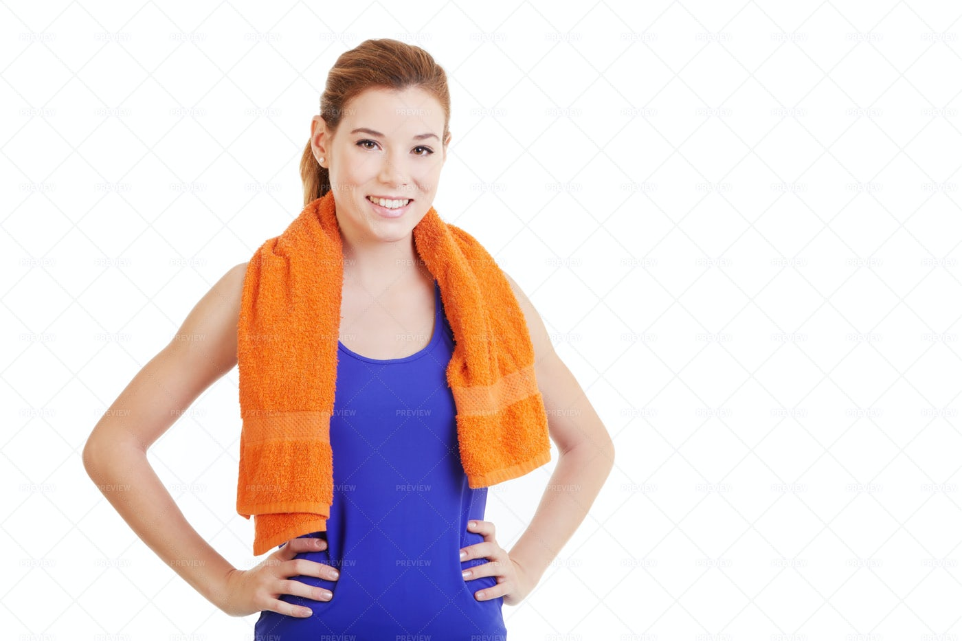 A Towel Around Her Neck: Stock Photos
