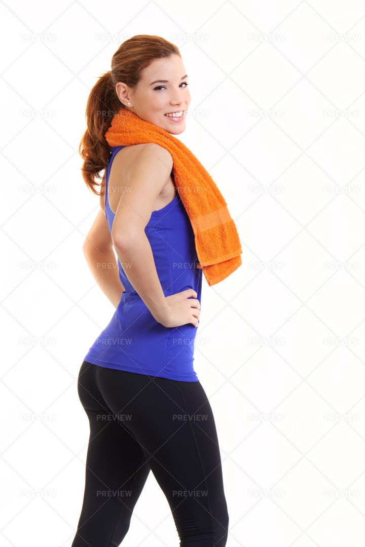 Fitness Woman With Towel: Stock Photos