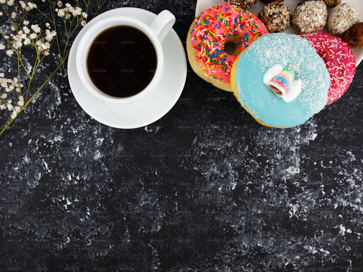 Coffee With Donuts: Stock Photos