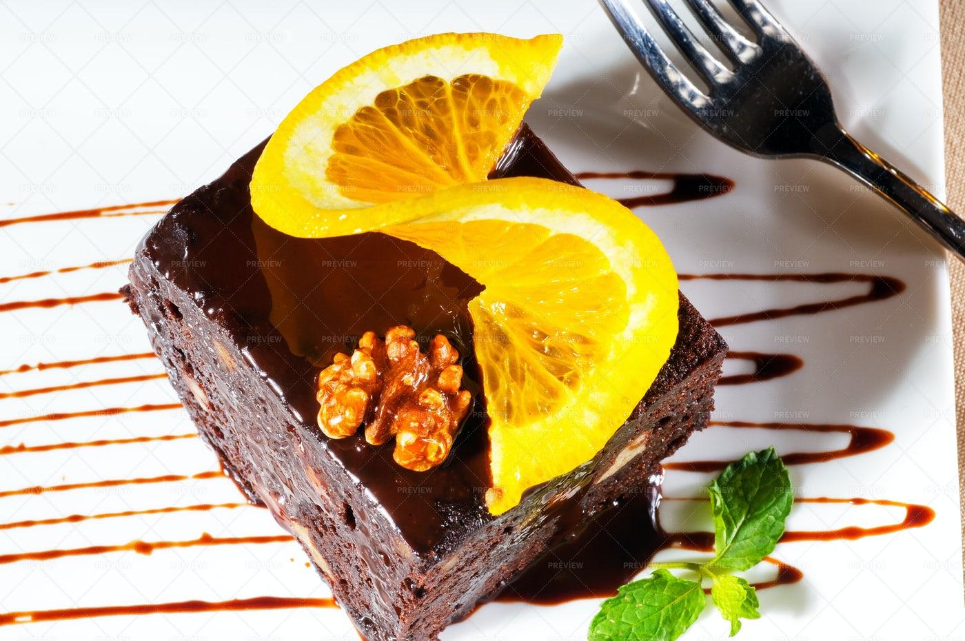 Chocolate And Walnuts Cake: Stock Photos