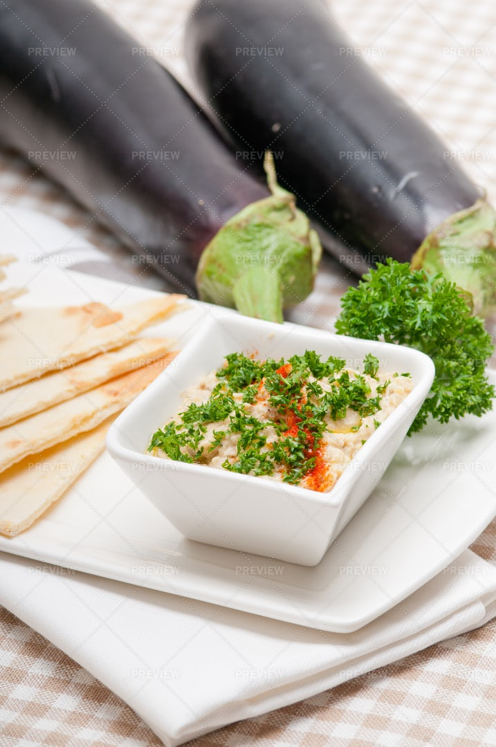 Baba Ghanoush And Eggplant: Stock Photos