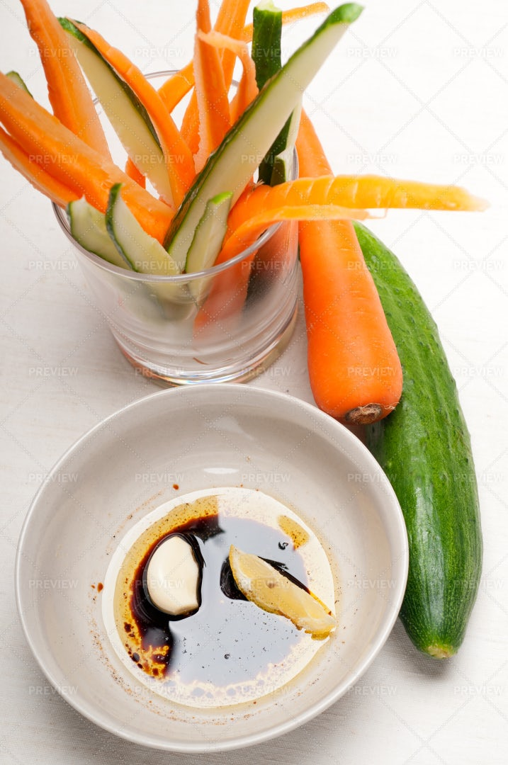 Fresh Pinzimonio Snack: Stock Photos